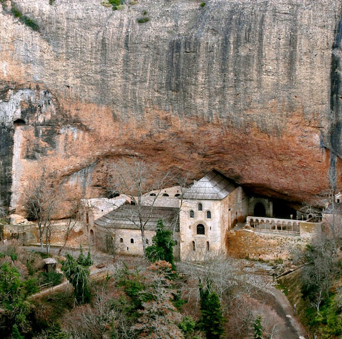 The amazing 10th century monastery of San Juan de la Peña set in the cliff face near Jaca, and a destination on our Cultural Holiday Spain