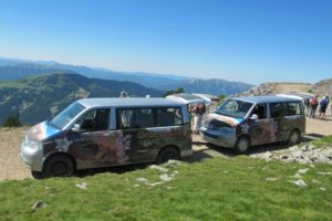Two 4x4 minbuses in ordesa national park on Tailor Made Activity Holidays Spain