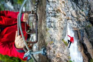 A man climbing the via ferrata on Tailor Made Activity Holidays Spain