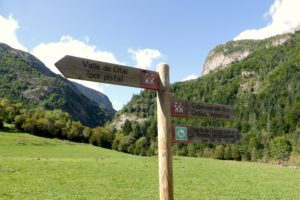 GR sign post on Self Guided Walking Holidays Pyrenees