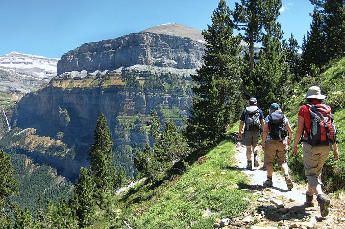 Walking on a faja on Guided Walking Holidays Pyrenees