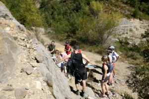 A geology explanation at Janovas on Trail running Holiday Pyrenees