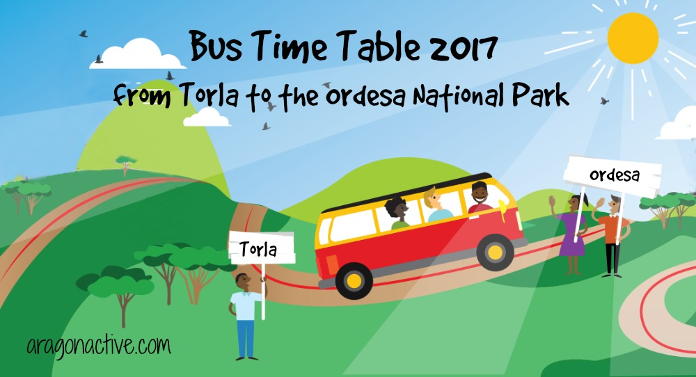 Cartoon image of people catching the bus on Ordesa National Park Shuttle Bus