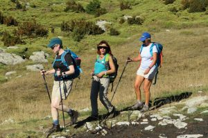 Three walkers in the Pyrenees on Aragon Active Guided walking Holiday Spain