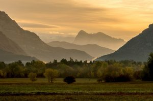 A view from Albella with the mountains in the early morning light on Aragon Active Cooking Holiday Spain