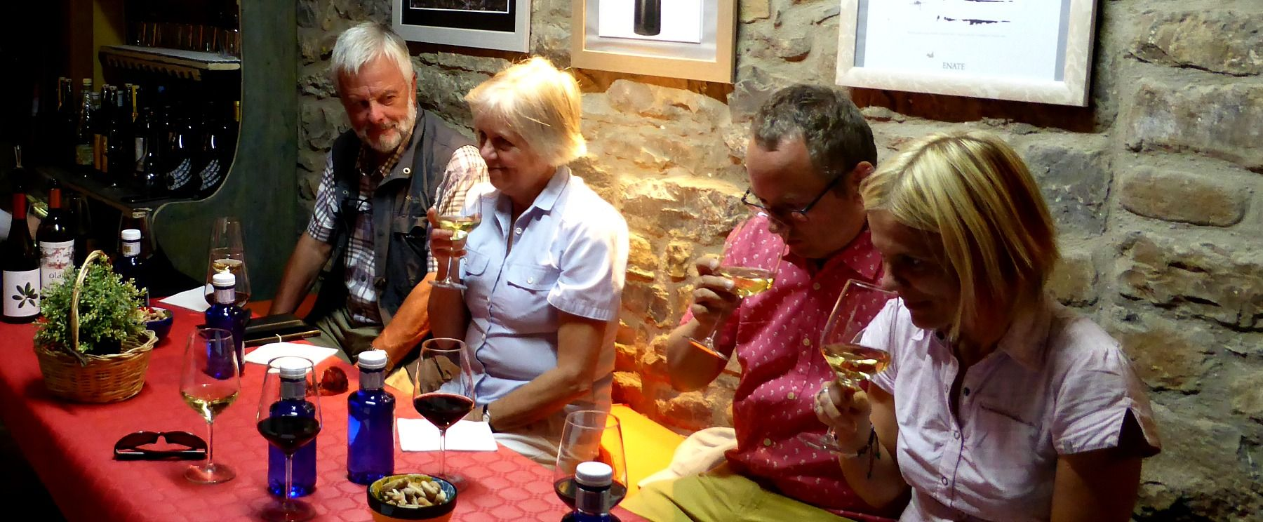 Four students tasting wine on the Learn Spanish Holiday with Aragon Active