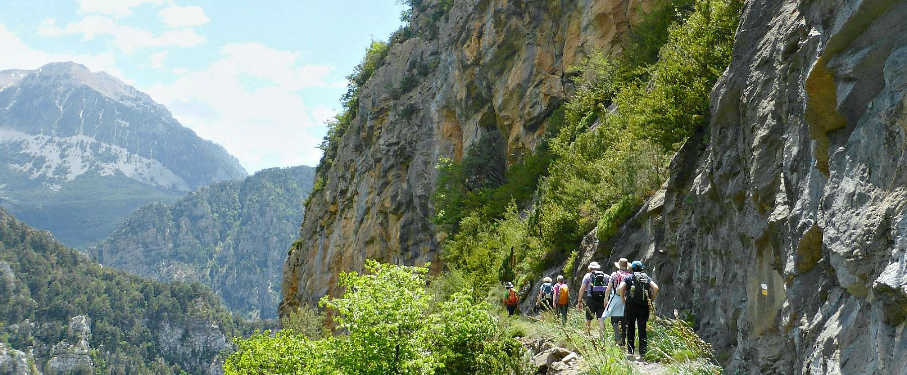 Walkers on a faja in the Ordesa National Park on Aragon Active Guided Walking Holiday Spain