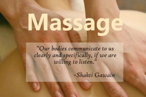 An image of a massage with a quote explaining we should listen to our bodies on the Juice Retreat Spain with Aragon Active