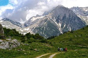 A walk in the Ordesa National Park with the Pyrenees peaks rising up in front on Aragon Active Self Guided Walking Holiday Spain