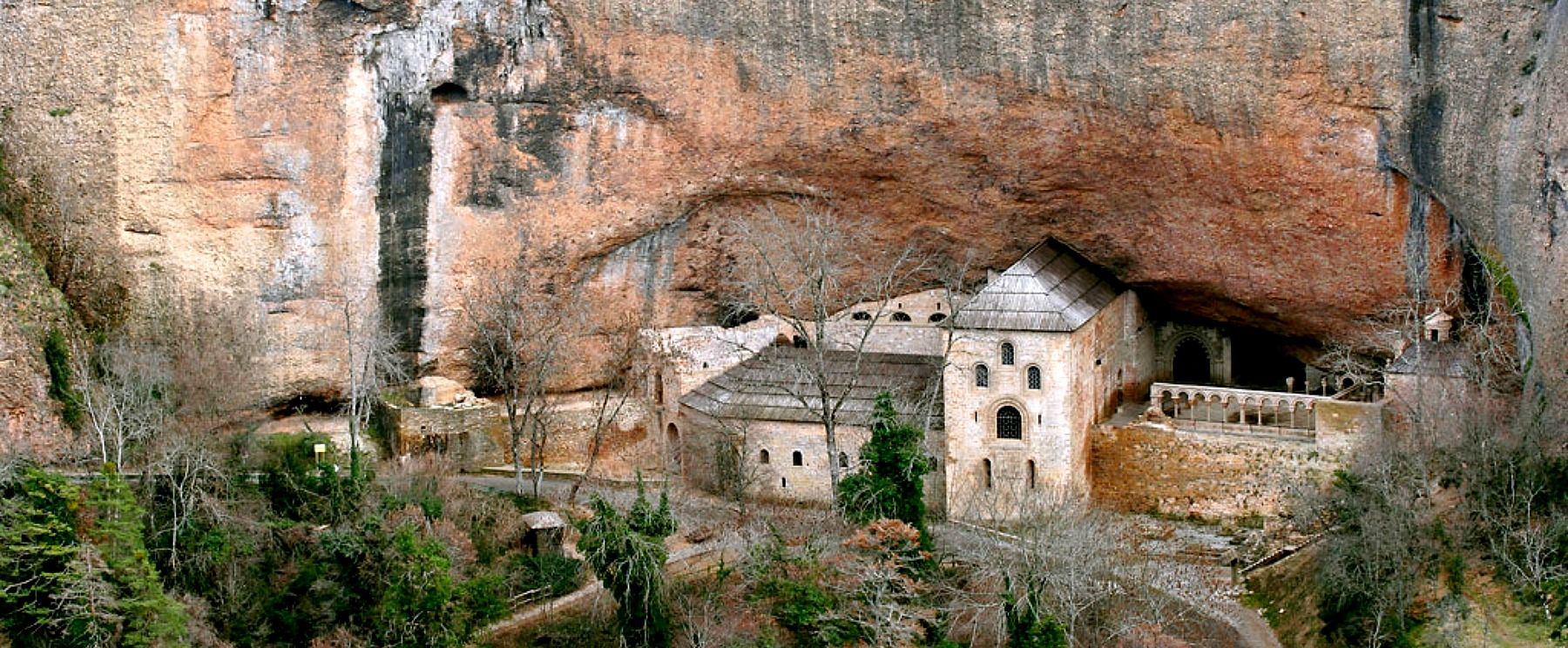 A view of the monastery of San Juan de la Peña on Aragon Active Tailor Made Activity Holiday Spain