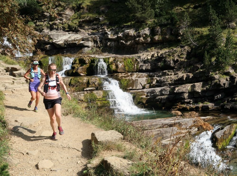 Two trail runners coming down from the Ordesa valley on Aragon Active Trail Running Holiday