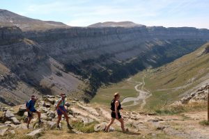 Trail runners high in the Ordesa valley Pyrenees on Aragon Active Trail Running Holiday