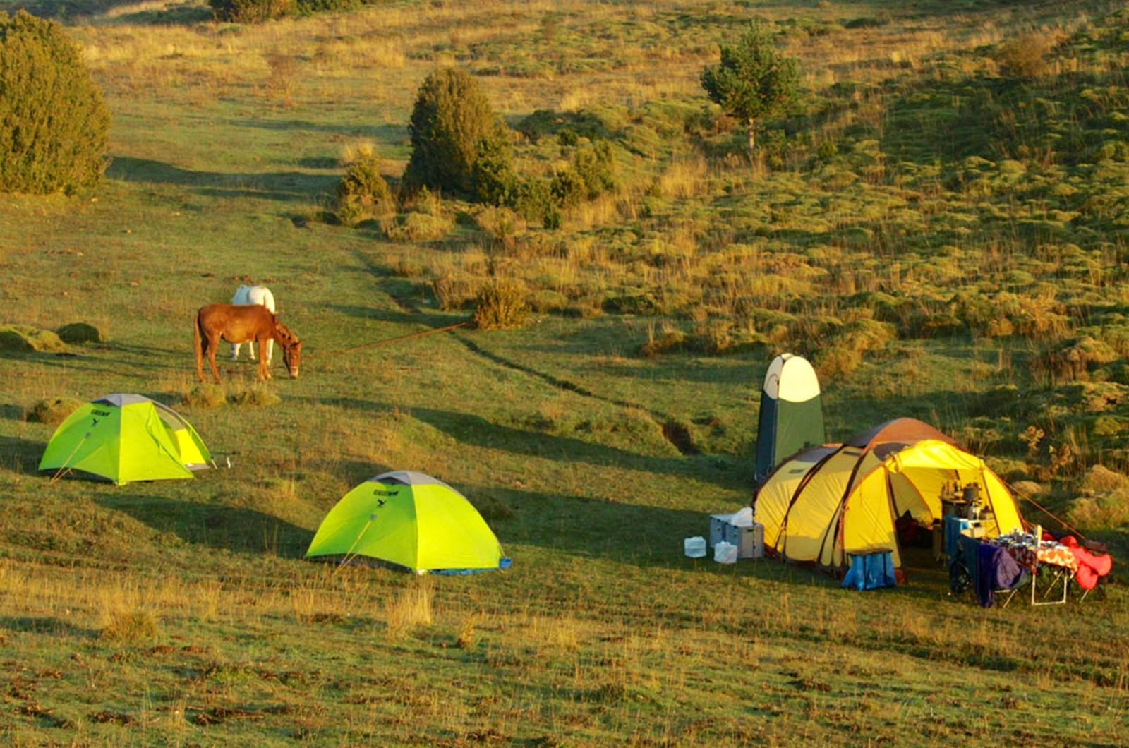 Our campsite at sunset in the Pyrenees on our one day excursion part of the Yoga Meditation Retreat Spain with Aragon Active
