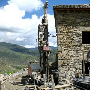 A 100m bore hole being drilled at Casa Allué, Albella, for the geothermal water and heating system, part of the renewable energy philosophy of Aragon Active and their Responsible Travel programme